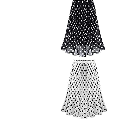 ca698a78b2 Summer Spring Women Chiffon Polka Dot Skirt Female Black dots Elastic Waist  Pleated Skirt Beach A-Line Plus Size at Amazon Women's Clothing store: