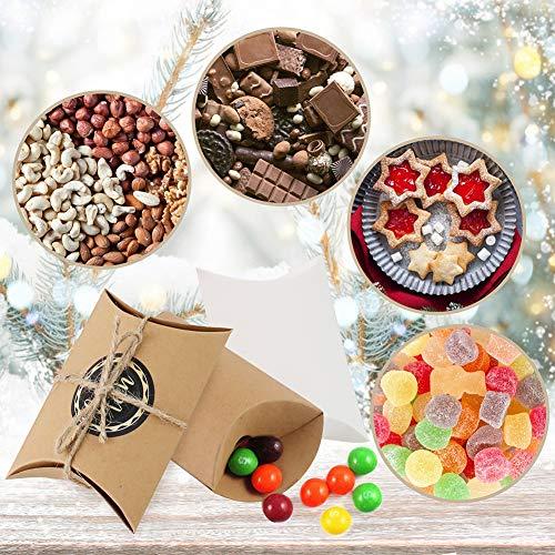 VGOODALL Adventskalender zum befüllen, 24 Adventskalender Kraftpapier Tüten mit 24 Zahlenaufklebern Weihnachts-Geschenktüten Kissenschachtel für Weihnachtsdeko zum DIY zum Basteln