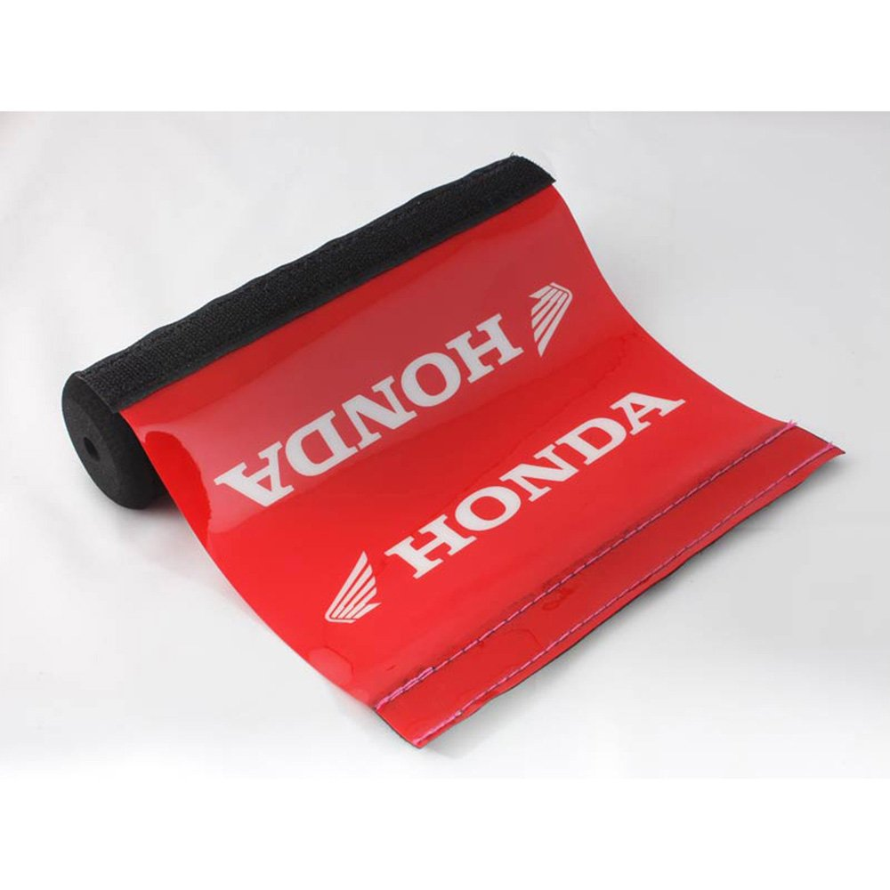 Short Red Pad & White Text Honda Soft Impact Absorbing Dense Foam Protector Accessories for Various Wheeled Vehicles w/ Crossbars (7.87in Length)