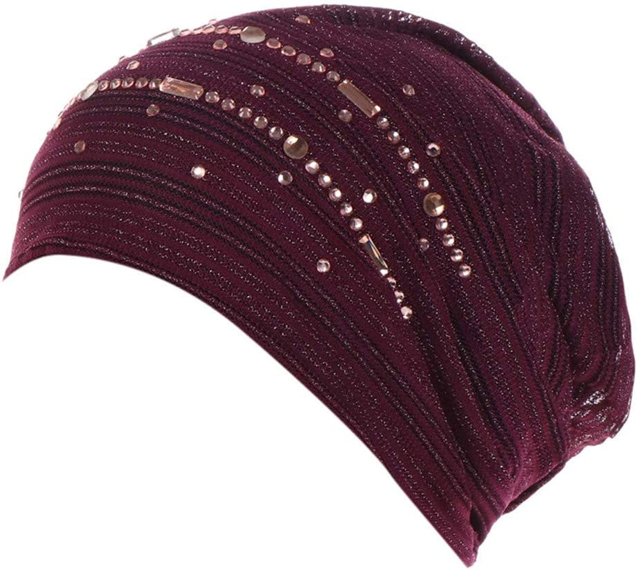 JYS Apparel Elastic Cotton Turban Hat,Solid Color Women Warm Winter Headscarf Breathable Hijabs Cap Muslim Wrap Head