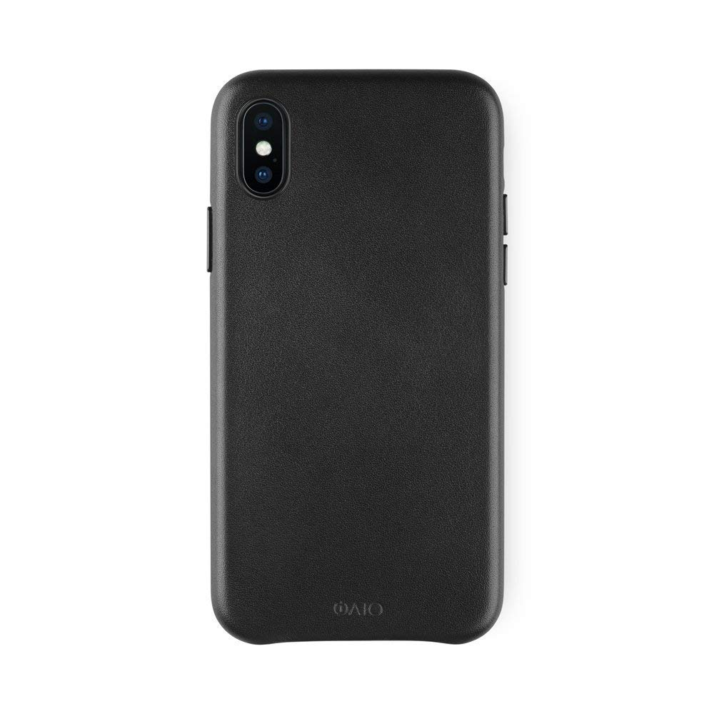 iATO iPhone X Black Leather Case - Premium Protective Real Cowhide Cover - Unique, Stylish & Classy Genuine Snap On Back Bumper for iPhone X / 10 - Supports Wireless Charging
