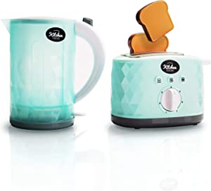 infunbebe Jeeves Jr. Kids Kettle and Toaster Toy Electronic Pretend Play Kitchen Appliance with Pop up Sounds My First Bread Slices Set for Toddlers