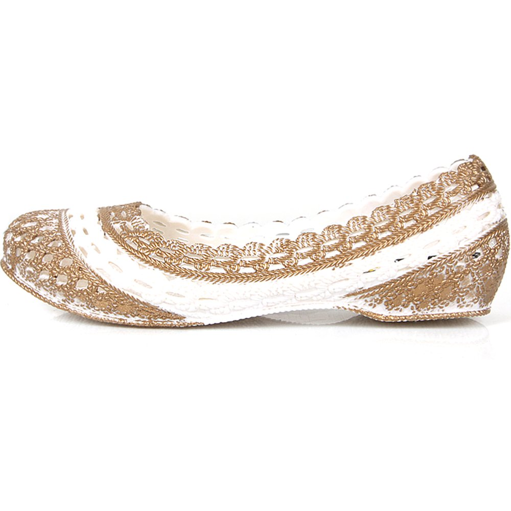 JustOneStyle New Comfort Womens Fashion Jelly Ballet Slip on Flats Shoes Gold