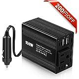 カーインバーター Gugusure 150W シガーソケット 車載充電器 USB 2ポート ACコンセント1口 DC12VをAC100Vに変換 シガーライターソケット コンパクト (ブラック)