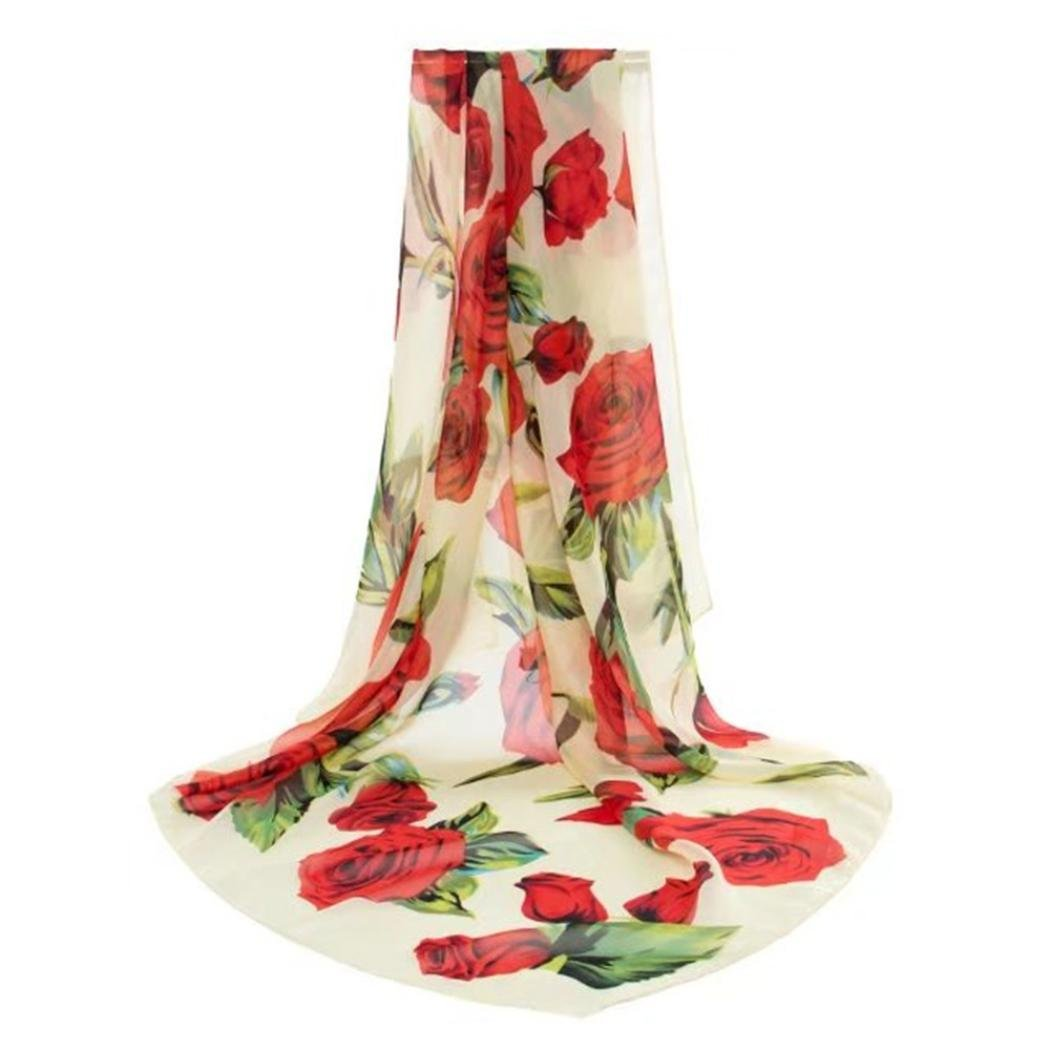 iHPH7 Lightweight Scarf, Fashion Rose Print Long Wrap Shawl Chiffon Silk Scarves at Amazon Womens Clothing store: