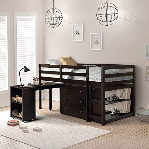 Low Study Twin Loft Bed with Cabinet and Rolling Portable Desk Espresso