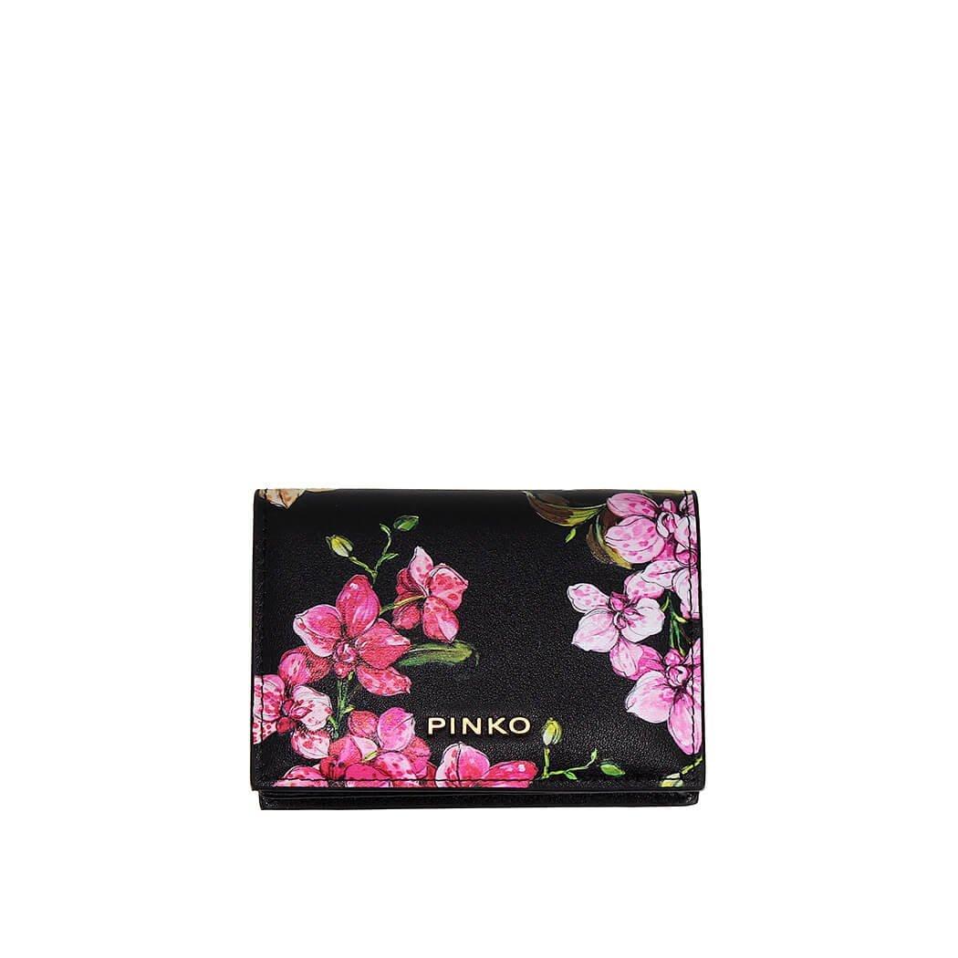 Women's Accessories Pinko Black Flowers Strillo Card Holder Spring Summer 2018