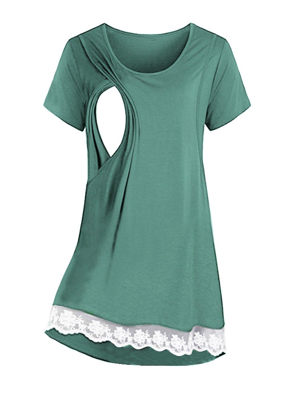 Saifeier PJ Women's Nursing Tops Summer Lace Breastfeeding T-Shirt Clothes(Blue Green,XL)