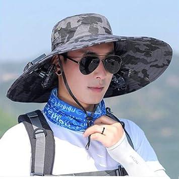 Doble solar Sombrero del ventilador masculino verano al aire libre ...