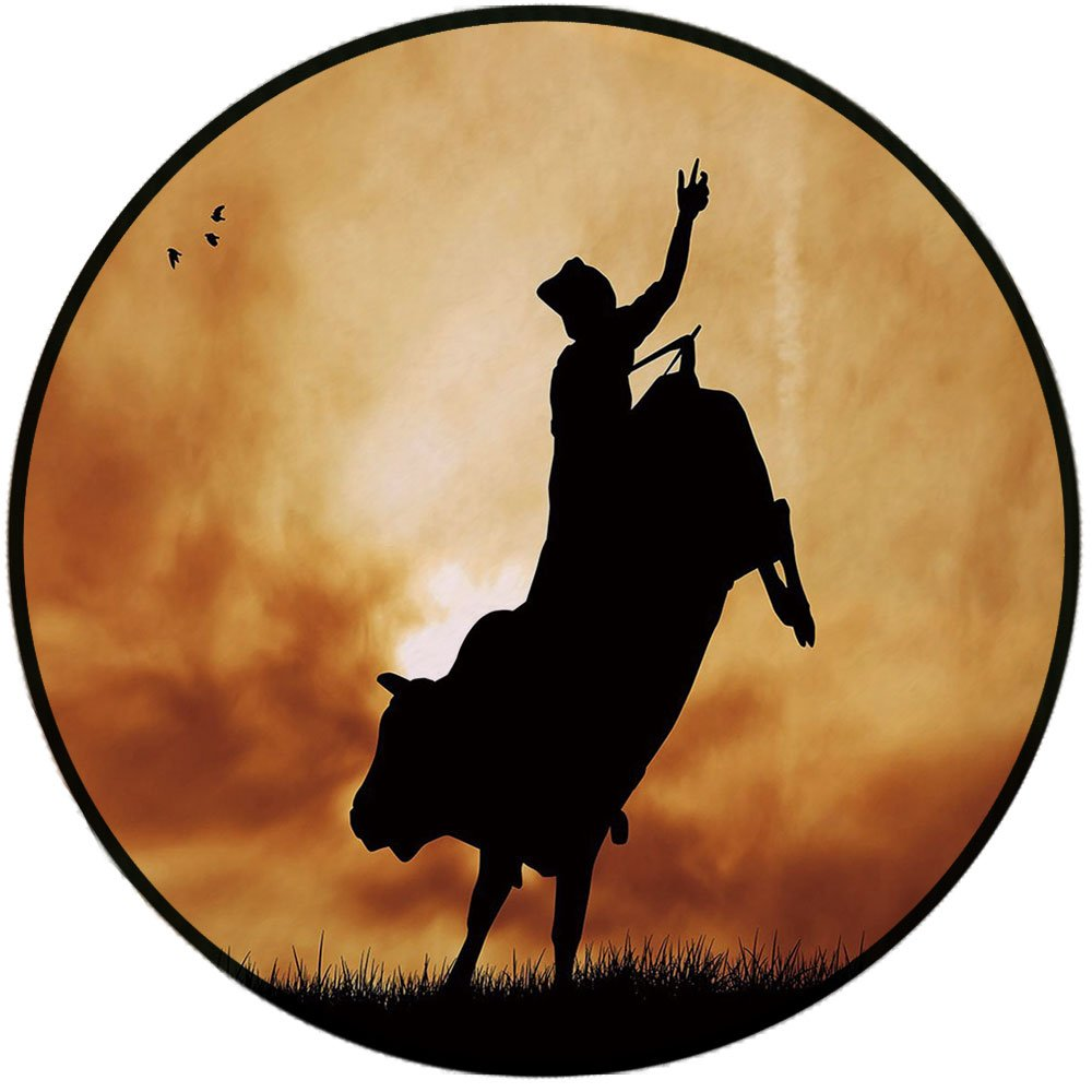 Printing Round Rug,Western,Bull Rider Silhouette at Sunset Dramatic Sky Rural Countryside Landscape Rodeo Decorative Mat Non-Slip Soft Entrance Mat Door Floor Rug Area Rug For Chair Living Room,Amber