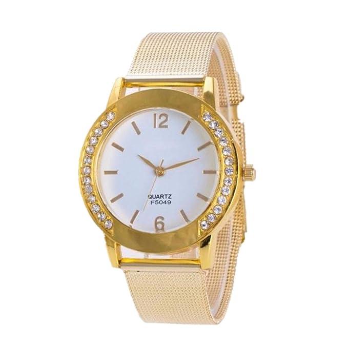 ZARLLE Reloj De Las Mujeres, Moda Mujer Ginebra Crystal Golden Acero Inoxidable Analogico Cuarzo Reloj