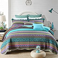 NEWLAKE Striped Jacquard Style Cotton Patchwork Bedspread Quilt Sets, Twin Size