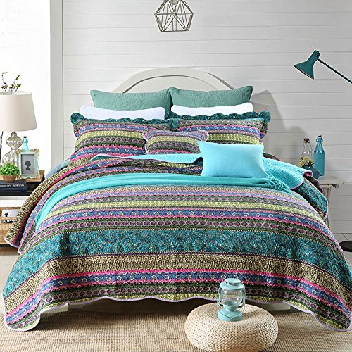 NEWLAKE Striped Jacquard Style Cotton 3-Piece Patchwork Bedspread Quilt Sets, Queen