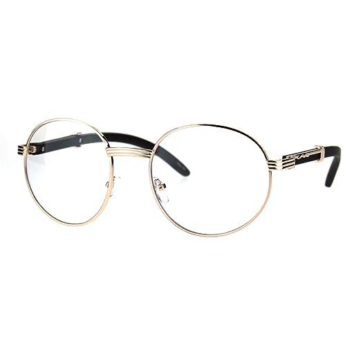 3cfc8f26bfa Mens Large Round Wood Buff OG Gangster 90s Luxury Clear Lens Glasses Light  Gold