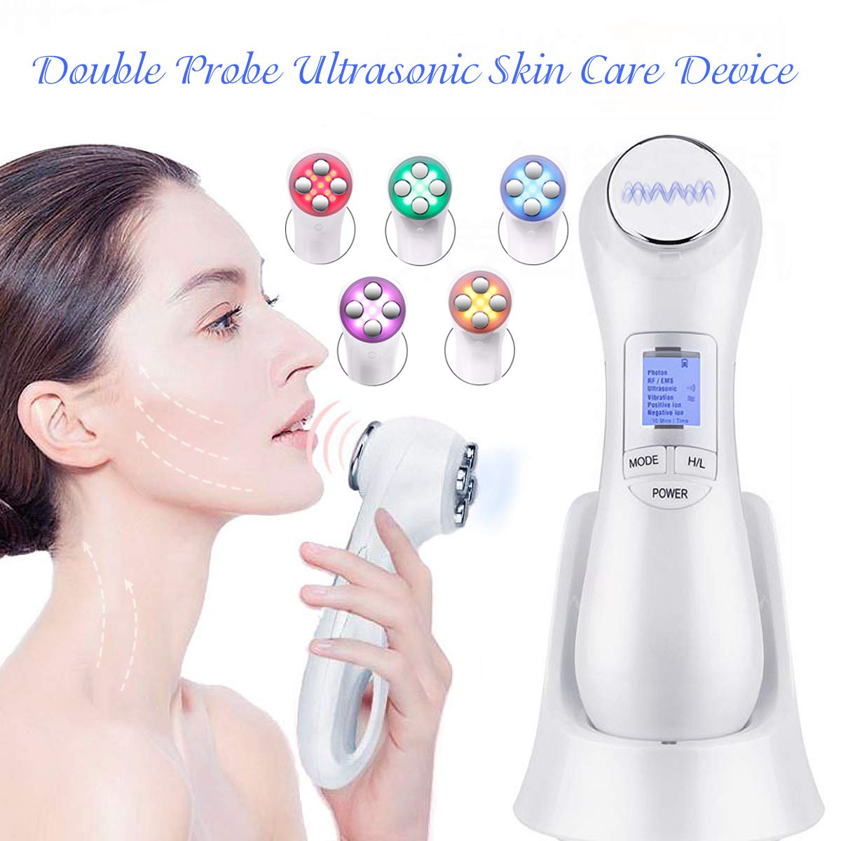 6 in 1 RF Machine EMS Face Massger 5 Colors Light Radio Frequency Skin Tightening Device Deep Cleanse Vibration Beauty Tools