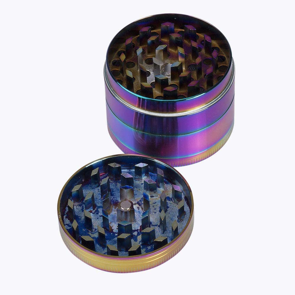 Iceblue, 40mm Herb Grinder Colorful Metal Grinder Pollen Grinder Alloy CNC Trapezoid-Shape Teeth Herb Grinder for Home Kitchen Tool
