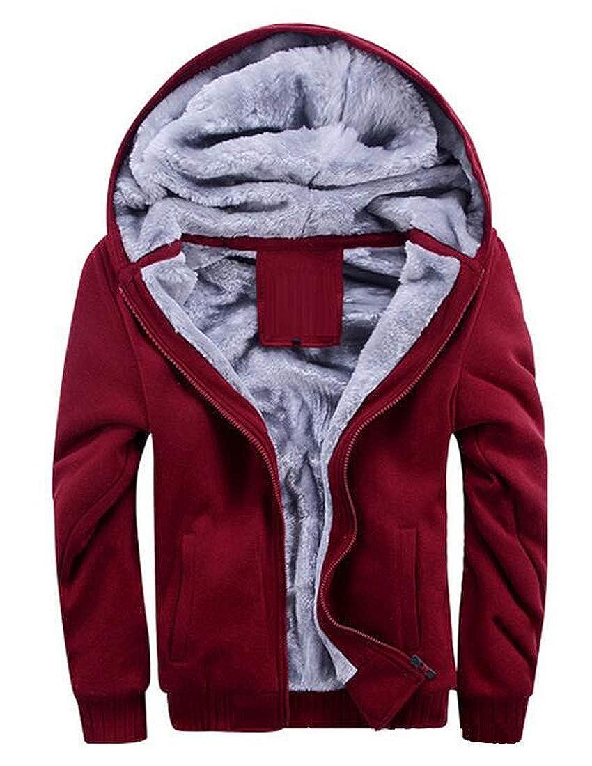 XTX Men Winter Solid Hoodie Faux Fur Lined Warm Zip up Jacket Coat