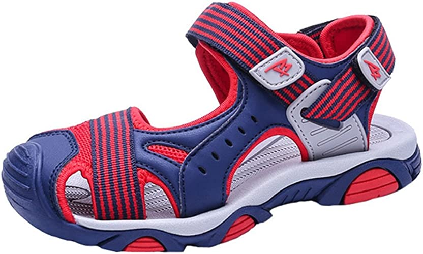 LGXH Summer Boys Striped Hiking Sandals Childrens Slip On Closed Toe Sports Athletic Outdoor Sandals