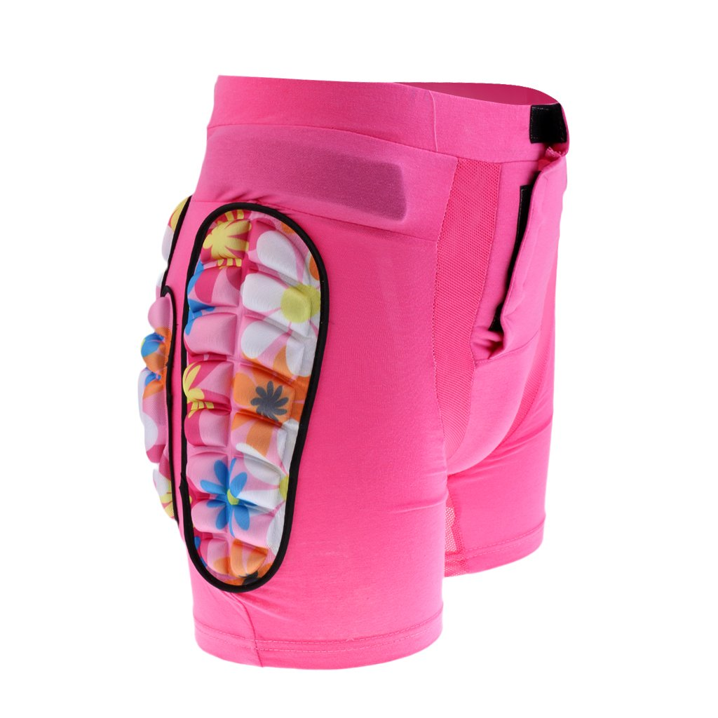 Dovewill Hip Pad Protector Skiing Roller Skating Snow Boarding Hip Guard Hockey Pants Padded Shorts for Kid Children - Pink, S