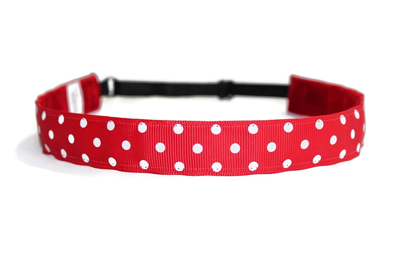 BEACHGIRL Bands Red Headband Adjustable No-Slip Hair Band For Women Polka Dots