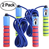 KINGSOO Jump Rope,2 &1 Pack Speed Jump Rope Women Adult Kid,Adjustable Lightweight Rope for Heart Boxing Equipment Exercise