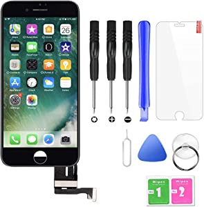 QTlier iPhone 7 Plus Screen Replacement,LCD Display and Touch Screen Digitizer Replacement Frame Assembly with Repair Tool Kit(Black, 5.5Inch, for iPhone 7 Plus)