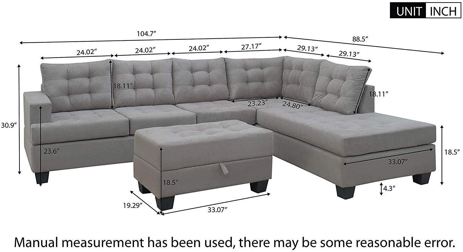 MOOSENG, 3-Piece Sectional Chaise Lounge and Storage Ottoman L Shape Couch for Living Room Sofas, Gray