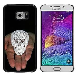 rígido protector delgado Shell Prima Delgada Casa Carcasa Funda Case Bandera Cover Armor para Samsung Galaxy S6 EDGE SM-G925 /Skull Printed 3D White Palm Black/ STRONG