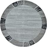 Unique Loom Del Mar Collection Contemporary Transitional Light Gray Round Rug (6′ x 6′) For Sale