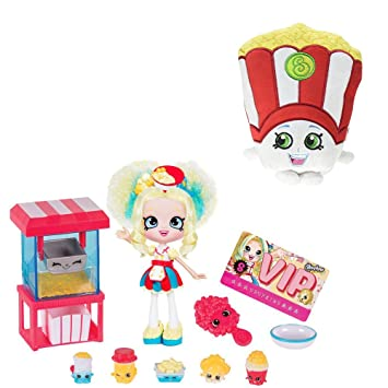 Shopkins Popetteu0027s Popcorn Stop Doll U0026 Poppy Corn Plush Figure Bundle
