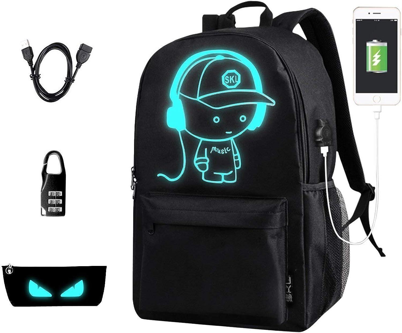 Anime Backpack for School, SKL Luminous Backpack Canvas Cartoon Backpack