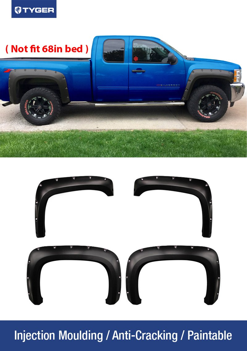 Tyger Auto TG-FF8C4068 For 2007-2014 Chevy Silverado (NOT for Short Bed)   Paintable Smooth Matte Black Pocket Bolt-Riveted Style Fender Flare Set, 4 Piece by Tyger Auto