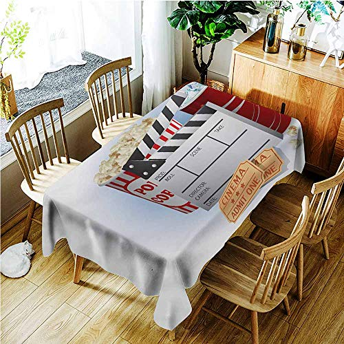 TT.HOME Washable Tablecloth,Movie Theater Soda Tickets Fresh Popcorn and Clapper Board Blockbuster Premiere Cinema,Resistant/Spill-Proof/Waterproof Table Cover,W60x120L,Multicolor