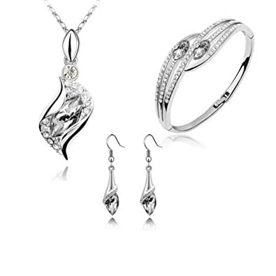 bc00f84b8 Fashion Style Earrings Necklace Bracelet Jewelry Set Crystal Rhinestone  Chic Eyes Drop DIY for Women Lady Girls, For Wedding, Bridal, Party,  Anniversary, ...