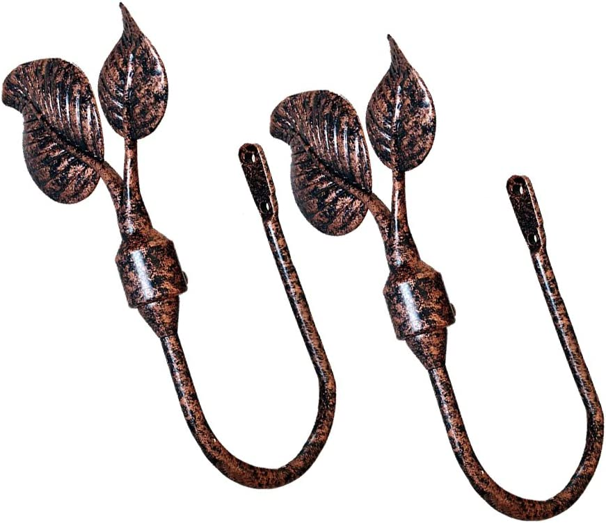 CHICTIE European Vintage Polished Classic Curtain Holdbacks Decorative Wall Hooks Hanger for Drapes Linen Holder Window Treatment Hardware,Set of 2 (Mulberry Leaves Copper): Home & Kitchen