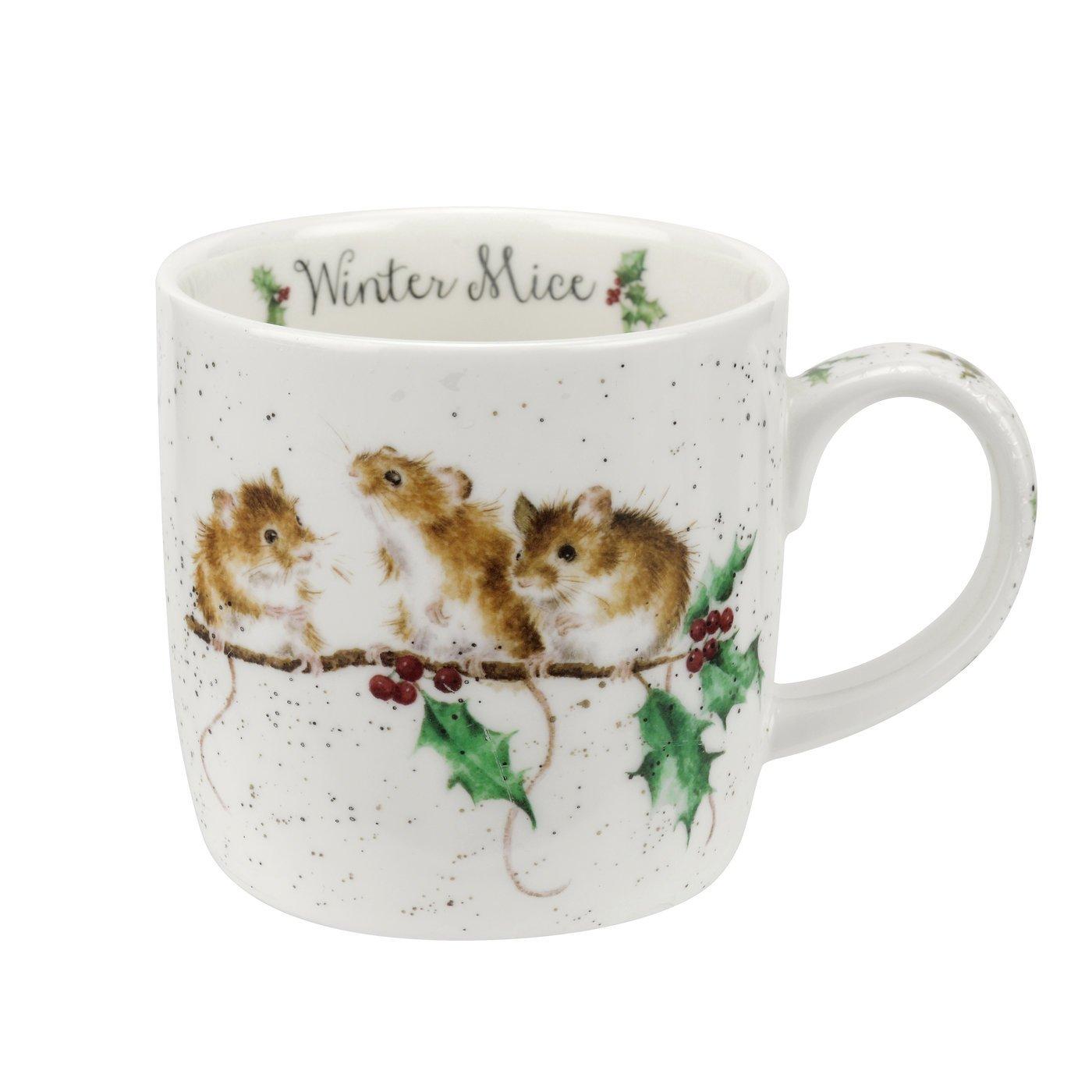 Bone China Single Mug Mice Multi Coloured 12 x 8.4 x 8 cm Wrendale Winter