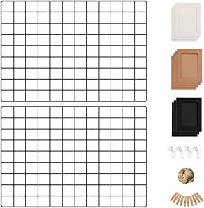 Wall Photo Grid Shelf, Wall Hanging Ins Art Display Grid Panel for Decor & Storage, Metal Wire Notice Boards & Memo Board, Mesh Tool Organiser, Wall Photo Frame 2 Pcs (Black, 25.6 x 17.7 inches)