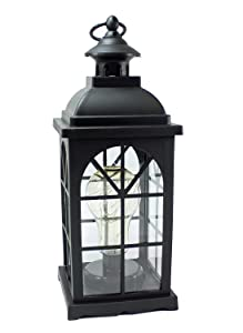 """We pay your sales tax 12"""" Vintage LED Metal Lantern Lamp String Fairy Firefly Warm Light Bulb Included Battery Operated Hanging for Outdoor Indoor Garden Backyard or Landscape Pathway Light LS02195"""
