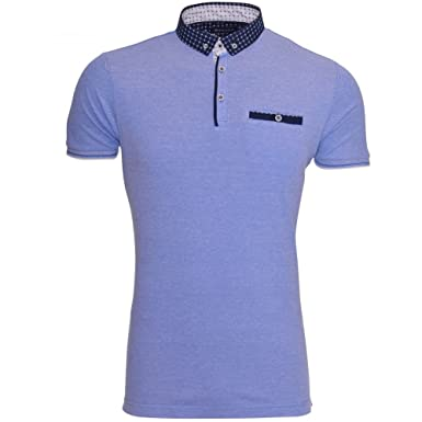 9822e553 Mens Designer Brave Soul Polo T Shirt Collar Smart Casual Short Sleeved Top  Chest Pocket Small