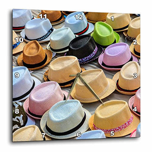 3dRose Danita Delimont - Markets - Spain, Balearic Islands, Palma de Mallorca, hats for sale at market. - 13x13 Wall Clock (dpp_277906_2) by 3dRose
