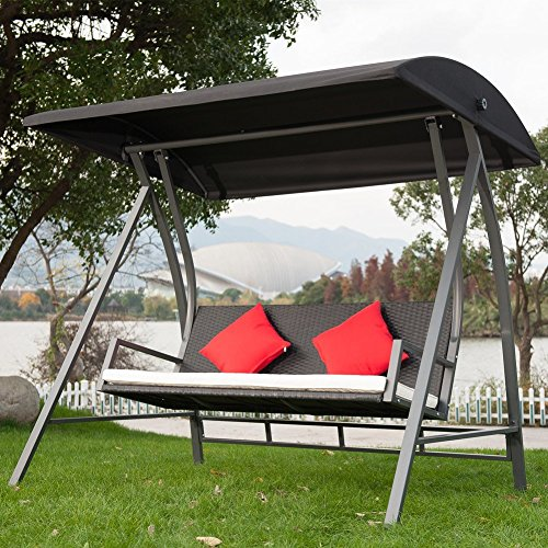 Porch Swing Outdoor Lounge Chair Seats 3 Patio PE Wicker Glider Bench with Steel Frame and Padded Cushion, (Glider Wicker Table)