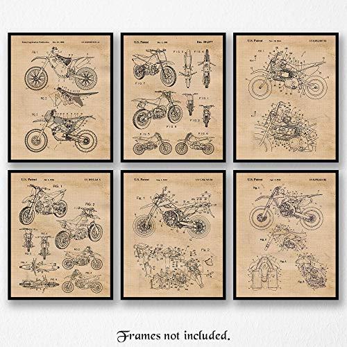 Original Honda-Yamaha-Kawasaki-KTM Motocross Dirt Bikes Art Poster Prints- Set of 6 (Six 8x10) Unframed Photos- Great Wall Art Decor Gifts Under $20 for Home, Office, Garage, Man Cave, Shop, Teacher ()
