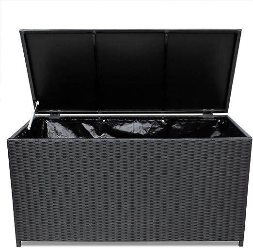 Festnight Baúl Caja de Almacenamiento para Jardín Negro 150x50x60 cm: Amazon.es: Hogar