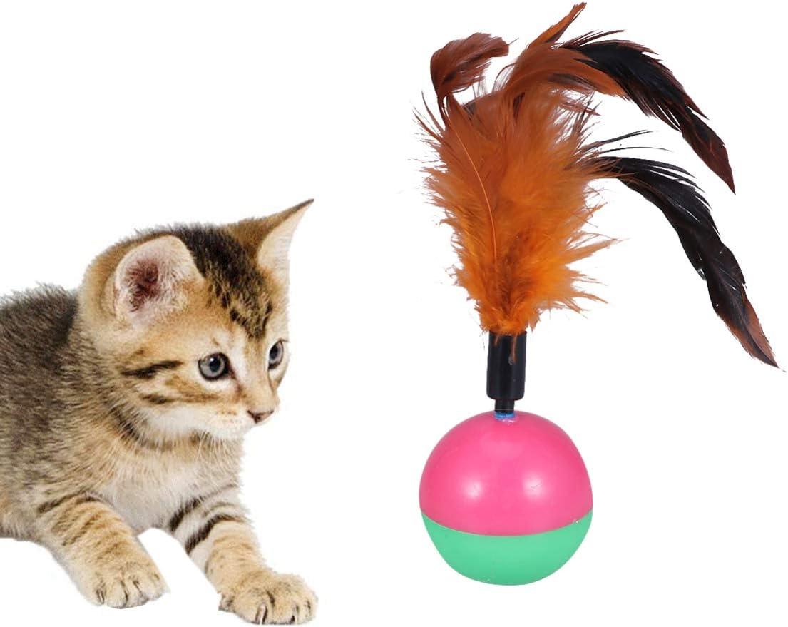 POPETPOP 2 Piezas de Juguetes de Vaso de Plumas de Gato Juguetes interactivos de Gato Gato Bola de Gato Gato rascarse Juguete Gatito Jugando Juguete para Mascota Gatito Gatito