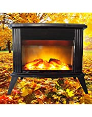 Corner Small Fireplace Heater, Indoor Energy Saving Space Heater, with Thermostat,750W/1500W (Black 20in)