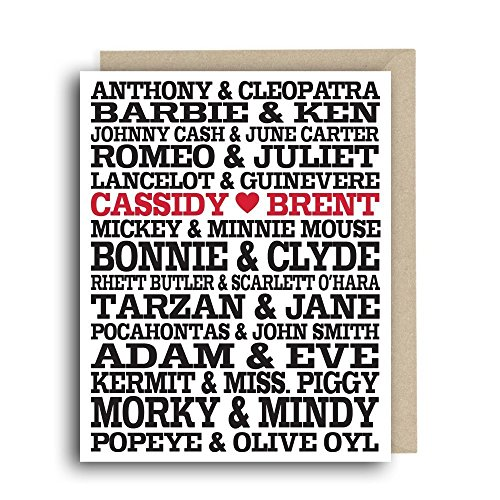 Personalized Greeting Card - Famous Couples - Wedding Congratulations, Anniversary Card, Custom Couples (Famous Couple Names)