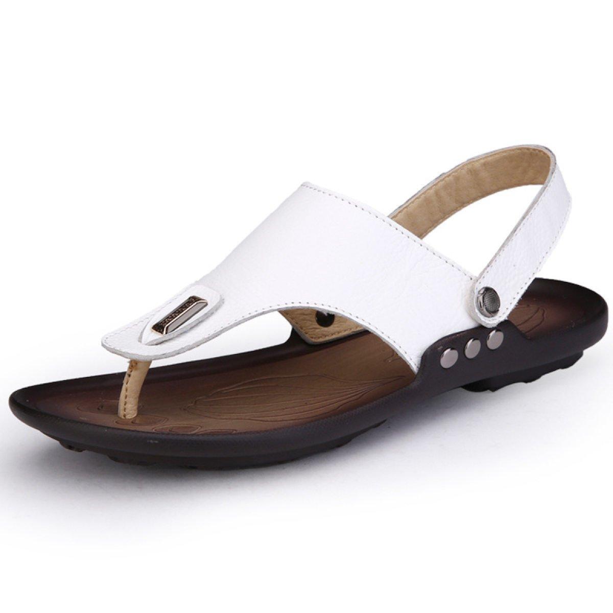 LXXAMens Verano Playa Flip Flops Cuero Real Thong Sandalias Sandalias Zapatos De Trekking,White-41EU 41EU|White