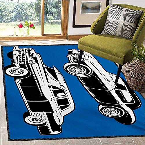 (Cars, Area Rug Door Mat, Black and White Vintage Cars on Navy Blue Backdrop Classic Old Vehicles, Door Mats for Inside Non Slip Backing 4x6 Ft Navy Blue Black White)