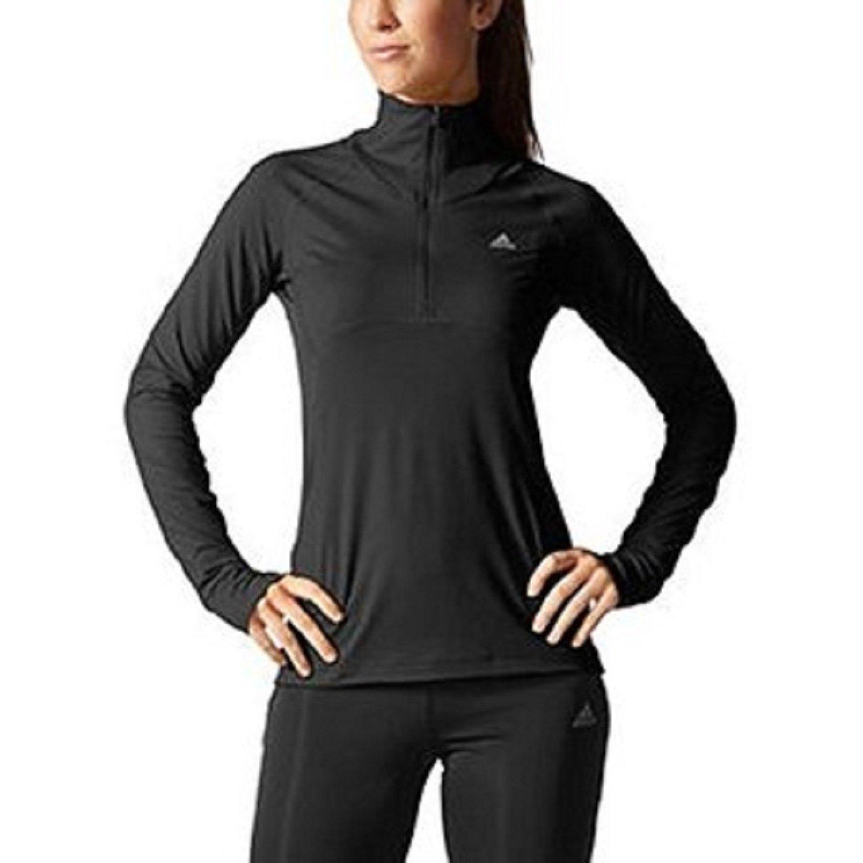 Adidas 1/4 Zip Climalite Women's Pullover Active Jacket Shirt (XL, Black)