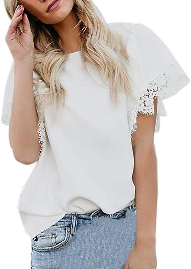OPAKY Moda para Mujer Sexy de Encaje Casual Patchwork Manga Corta Camiseta Tops Camisas Mujer Color Sólido Tops Blusa Blusa y Camisa Imprimiendo Arriba Camisetas Mujer: Amazon.es: Ropa y accesorios